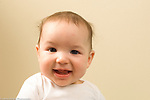 5 month old baby boy portrait closeup smiling