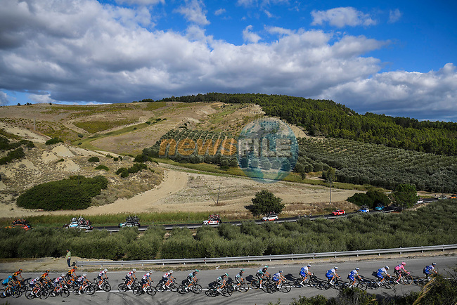 The peloton ride through stunning scenery during Stage 6 of the 103rd edition of the Giro d'Italia 2020 running 188km from Castrovillari to Matera, Sicily, Italy. 7th October 2020.  <br /> Picture: LaPresse/Fabio Ferrari | Cyclefile<br /> <br /> All photos usage must carry mandatory copyright credit (© Cyclefile | LaPresse/Fabio Ferrari)
