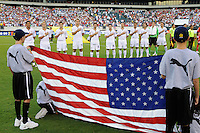 United States (USA) starting XI during the playing of the national anthem. The United States (USA) defeated Panama (PAN) 2-1 during a quarterfinal match of the CONCACAF Gold Cup at Lincoln Financial Field in Philadelphia, PA, on July 18, 2009.
