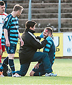 Forfar's Martyn Fotheringham gets treatment for a head knock.