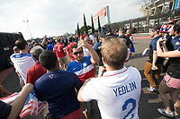 MEXICO CITY, MEXICO - June 11, 2017:  USA fans enter the World Cup Qualifier match against Mexico at Azteca Stadium.
