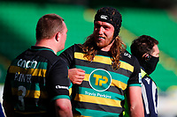 13th March 2021; Franklin's Gardens, Northampton, East Midlands, England; Premiership Rugby Union, Northampton Saints versus Sale Sharks; Alex Moon of Northampton Saints jokes with Ehren Painter during a break in play
