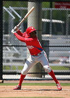 April 1, 2010:  Third Baseman Maikel Franco of the Philadelphia Phillies organization during Spring Training at the Carpenter Complex in Clearwater, FL.  Photo By Mike Janes/Four Seam Images