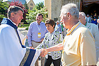 June 5, 2015; Fr. Paul Doyle, C.S.C. greets members of the 50-year-club after Mass, Reunion 2015. (Photo by Matt Cashore/University of Notre Dame)