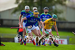 Brendan O'Leary, Kerry, in action against Padraic O'Hanrahan, Meath during the Round 1 meeting of Kerry and Meath in the Joe McDonagh Cup at Austin Stack Park in Tralee on Sunday.
