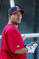 Benji Gil of the Los Angeles Angels before a 2002 MLB season game at Angel Stadium, in Anaheim, California. (Larry Goren/Four Seam Images)