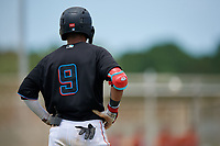 GCL Marlins Victor Mesa Jr. (9) during a Gulf Coast League game against the GCL Astros on August 8, 2019 at the Roger Dean Chevrolet Stadium Complex in Jupiter, Florida.  GCL Marlins defeated GCL Astros 5-4.  (Mike Janes/Four Seam Images)