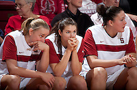 STANFORD, CA - February 12, 2011: Mikaela Ruef, Sara James and Sarah Boothe of the Stanford Cardinal women's basketball team during Stanford's 62-52 win over Washington at Maples Pavilion.
