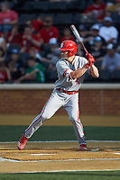 Patrick Bailey (5) of the North Carolina State Wolfpack at bat against the Wake Forest Demon Deacons at David F. Couch Ballpark on April 18, 2019 in  Winston-Salem, North Carolina. The Demon Deacons defeated the Wolfpack 7-3. (Brian Westerholt/Four Seam Images)