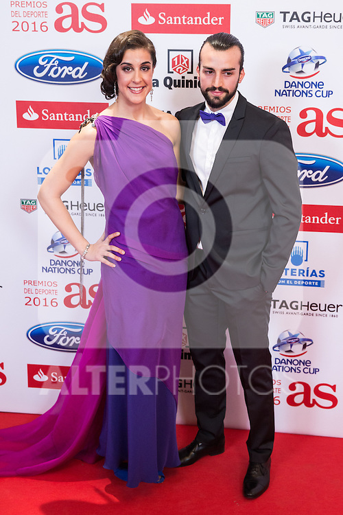 "Carolina Marin and her boyfriend Alejandro during the ""As sports Awards"" at Palace Hotel in Madrid, Spain. december 19, 2016. (ALTERPHOTOS/Rodrigo Jimenez)"