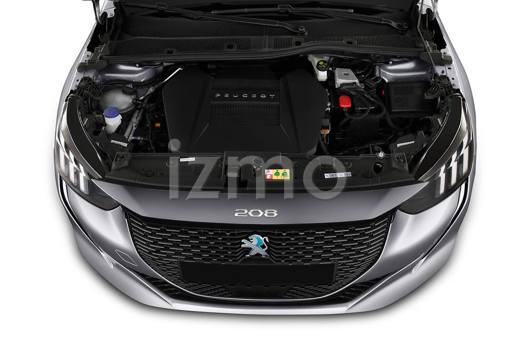 Car Stock 2020 Peugeot e-208 GT 5 Door Hatchback Engine  high angle detail view