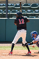 Visalia Rawhide center fielder Marcus Wilson (12) at bat during a California League game against the Stockton Ports at Visalia Recreation Ballpark on May 9, 2018 in Visalia, California. Stockton defeated Visalia 4-2. (Zachary Lucy/Four Seam Images)