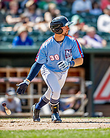 23 June 2019: New Hampshire Fisher Cats catcher Alberto Mineo singles to load the bases in the 2nd inning against the Trenton Thunder at Northeast Delta Dental Stadium in Manchester, NH. The Thunder defeated the Fisher Cats 5-2 in Eastern League play. Mandatory Credit: Ed Wolfstein Photo *** RAW (NEF) Image File Available ***
