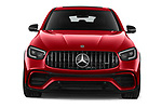 Car photography straight front view of a 2021 Mercedes Benz GLC-Coupe AMG-GLC-63-S 5 Door SUV Front View