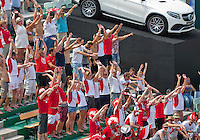 Austria, Kitzbühel, Juli 18, 2015, Tennis,  Davis Cup, Third match doubles: Olivier Marach/Jurgen Meltzer (AUT) vs Jean-Julien Rojer/ Robin Haase (NED), pictured: Austrian supporters<br /> Photo: Tennisimages/Henk Koster