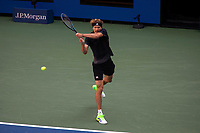 8th September 2021; New York, USA;  Alexander Zverev of Germany hits a return during the men s singles quarterfinals of the 2021 US Open against Lloyd Harris of South Africa in New York, the United States on Sept. 8, 2021. Photo by /Xinhua SPU.S.-NEW YORK-TENNIS-US OPEN-DAY 10-QUARTERFINAL-MEN S SINGLES MichaelxNagle