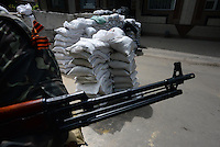 A check point made of sand bags  on the streets of Slavyansk