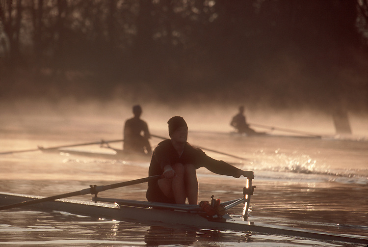 Rowers, Seattle, Single scullers, winter, Lake Washington, Pocock Rowing Center, elite rowing, workout, sunrise, Todd Beyreuther,