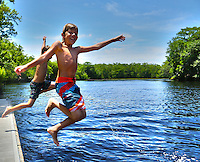 Kids Jumping in water