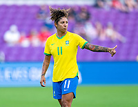 ORLANDO, FL - FEBRUARY 18: Cristiane #11 of Brazil talks to a teammate during a game between Argentina and Brazil at Exploria Stadium on February 18, 2021 in Orlando, Florida.