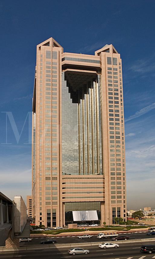 Dubai. United Arab Emirates.  Fairmont Hotel on Sheikh Zayed Road/Abu Dhabi Road.  Business and convention hotel..