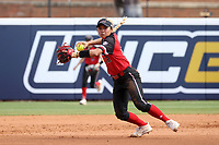 GREENSBORO, NC - MARCH 11: Kenny Litana #12 of Northern Illinois University throws to home plate during a game between Northern Illinois and UNC Greensboro at UNCG Softball Stadium on March 11, 2020 in Greensboro, North Carolina.