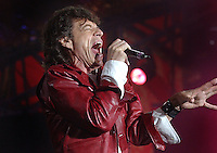 Mick Jagger sings at a Rolling Stones concert held in San Francisco