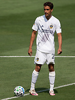 LOS ANGELES, CA - AUGUST 22: Ethan Zubak #29 of the Los Angeles Galaxy moves with the ball during a game between Los Angeles Galaxy and Los Angeles FC at Banc of California Stadium on August 22, 2020 in Los Angeles, California.