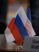 Flags representing the nations of the Expedition 54 crew members are seen on a table before a press conference, Saturday, December 16, 2017 at the Cosmonaut Hotel in Baikonur, Kazakhstan. Expedition 54 Soyuz Commander Anton Shkaplerov of Roscosmos, flight engineer Scott Tingle of NASA, and flight engineer Norishige Kanai of Japan Aerospace Exploration Agency (JAXA) are scheduled to launch to the International Space Station aboard the Soyuz spacecraft from the Baikonur Cosmodrome on December 17. <br /> Mandatory Credit: Joel Kowsky / NASA via CNP