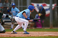 Indiana State Sycamores Brandt Nowaskie (16) bunts during a game against the Dartmouth Big Green on February 21, 2020 at North Charlotte Regional Park in Port Charlotte, Florida.  Indiana State defeated Dartmouth 1-0.  (Mike Janes/Four Seam Images)