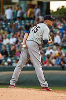 Tacoma Rainiers starting pitcher Mike Montgomery (35) delivers a pitch to the plate against the Salt Lake Bees in Pacific Coast League action at Smith's Ballpark on August 31, 2015 in Salt Lake City, Utah. Salt Lake defeated Tacoma 6-5.  (Stephen Smith/Four Seam Images)