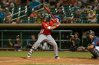 Joe Rizzo (3) of the Modesto Nuts at bat against the South Division during the 2018 California League All-Star Game at The Hangar on June 19, 2018 in Lancaster, California. The North All-Stars defeated the South All-Stars 8-1.  (Donn Parris/Four Seam Images)