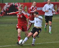 Denmark U17 - Germany U17 : 6 Rieke Dieckmann aan de bal voor 4 Maja Kildemoes.foto Joke Vuylsteke / Vrouwenteam.be
