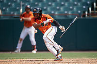 Bowie Baysox Cedric Mullins (2) lays down a bunt single during an Eastern League game against the Binghamton Rumble Ponies on August 21, 2019 at Prince George's Stadium in Bowie, Maryland.  Bowie defeated Binghamton 7-6 in ten innings.  (Mike Janes/Four Seam Images)
