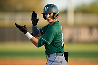 Venice Indians Michael Robertson (12) on first after a base hit during a game against the Braden River Pirates on February 25, 2021 at Braden River High School in Bradenton, Florida.  (Mike Janes/Four Seam Images)