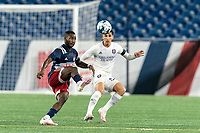 FOXBOROUGH, MA - AUGUST 7: Mayele Malango #10 of New England Revolution II flips ball over Juan Pablo Monticelli #55 of Orlando City B during a game between Orlando City B and New England Revolution II at Gillette Stadium on August 7, 2020 in Foxborough, Massachusetts.