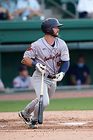 First baseman Evan Edwards (16) of the Bowling Green Hot Rods during a game against the Greenville Drive on Wednesday, May 5, 2021, at Fluor Field at the West End in Greenville, South Carolina. (Tom Priddy/Four Seam Images)