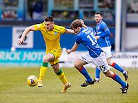 18th April 2021; Stair Park, Stranraer, Dumfries, Scotland; Scottish Cup Football, Stranraer versus Hibernian; Kyle Magennis of Hibernian gets away from Kieran Millar of Stranraer