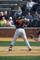 George Iskenderian (7) of the Miami Hurricanes at bat against the Wake Forest Demon Deacons at Wake Forest Baseball Park on March 21, 2015 in Winston-Salem, North Carolina.  The Hurricanes defeated the Demon Deacons 12-7.  (Brian Westerholt/Four Seam Images)