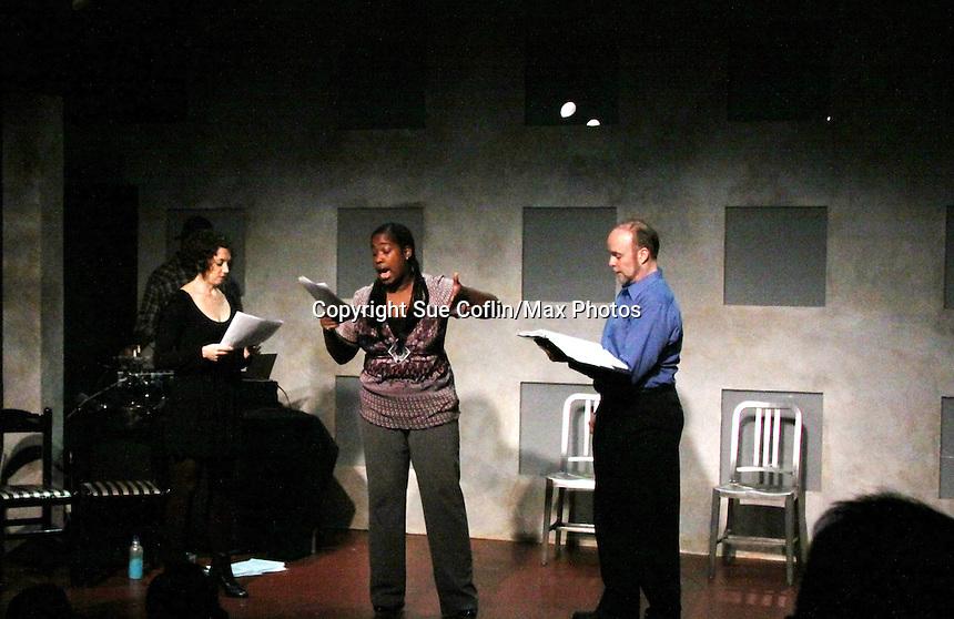 "Richard Kent Green, Cecily Benjamin and Amanda Sayle in ""Verbatim Verboten - NYC"" on October 18, 2010 at the WorkShop Theater, NYC. (Photo by Sue Coflin/Max Photos)"