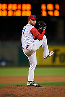Stockton Ports relief pitcher Andrew Tomasovich (21) delivers a pitch during a California League game against the Rancho Cucamonga Quakes at Banner Island Ballpark on May 16, 2018 in Stockton, California. Rancho Cucamonga defeated Stockton 6-3. (Zachary Lucy/Four Seam Images)