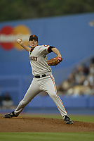 Joe Nathan of the San Francisco Giants during a 2003 season MLB game at Dodger Stadium in Los Angeles, California. (Larry Goren/Four Seam Images)