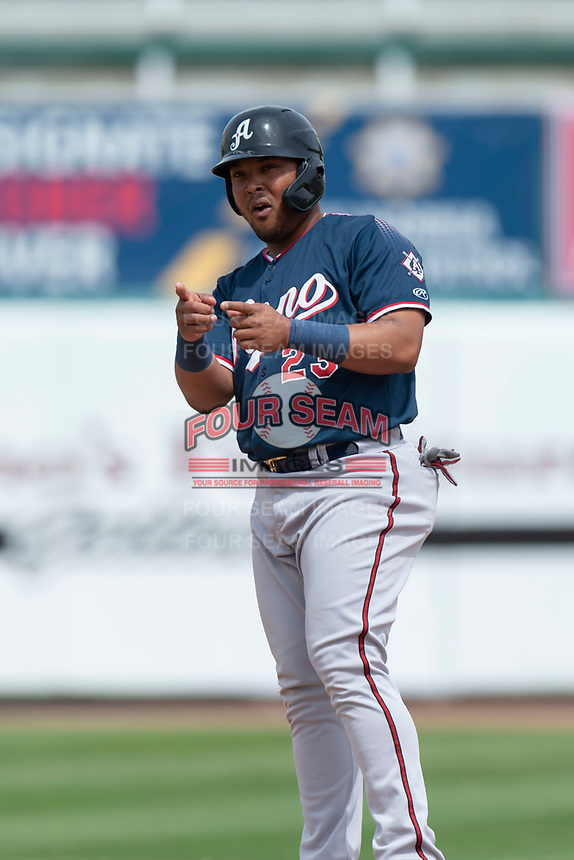 Reno Aces first baseman Yasmany Tomas (23) during a game against the Fresno Grizzlies at Chukchansi Park on April 8, 2019 in Fresno, California. Fresno defeated Reno 7-6. (Zachary Lucy/Four Seam Images)