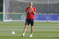Pictured: Gareth Bale drinks water. Monday 31 August 2020<br /> Re: Wales football training ahead of their game against Finland, at the Vale Resort in Hensol, Wales, UK.