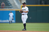 Charlotte Knights second baseman Ryan Brett (5) on defense against the Indianapolis Indians at BB&T BallPark on August 22, 2018 in Charlotte, North Carolina.  The Indians defeated the Knights 6-4 in 11 innings.  (Brian Westerholt/Four Seam Images)