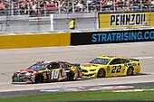 #18: Kyle Busch, Joe Gibbs Racing, Toyota Camry M&M's Chocolate Bar and #22: Joey Logano, Team Penske, Ford Mustang Pennzoil