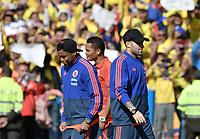 BOGOTA - COLOMBIA, 05-07-2018: Luis MURIEL, Carlos BACCA, David OSPINA jugadores de la Selección Colombia de fútbol reciben un homenaje hoy, 05 de julio de 2018, después de su participación en la Copa Mundial de la FIFA Rusia 2018. El acto tuvo lugar een el estadio Nemesio Camacho El Campín de la ciudad de Bogotá / Luis MURIEL, Carlos BACCA, David OSPINA players of Colombia national soccer team receives tribute today, July 5, 2018, after its participation in the FIFA World Cup Russia 2018. The event took place at Nemesio Camacho El Campin stadium in Bogota city. Photo: VizzorImage / Gabriel Aponte / Staff