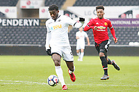 Sunday 18 March 2018<br /> Pictured:  Botti Biabi of Swansea City<br /> Re: Swansea City v Manchester United U23s in the Premier League 2 at The Liberty Stadium on March 18, 2018 in Swansea, Wales.