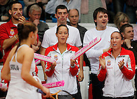Serbia's players Ana Jovanovic, left and Jelena Jovanovic, attends match between Serbia's Bojana Jovanovska and Slovakia's Dominica Cibulkova , during the World Group play-off Fed Cup match in Bratislava, Slovakia, Saturday, Apr. 16, 2011. (Srdjan Stevanovic/Starsportphoto ©).