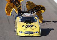 Feb. 23, 2013; Chandler, AZ, USA; NHRA funny car driver Jeff Arend during qualifying for the Arizona Nationals at Firebird International Raceway. Mandatory Credit: Mark J. Rebilas-